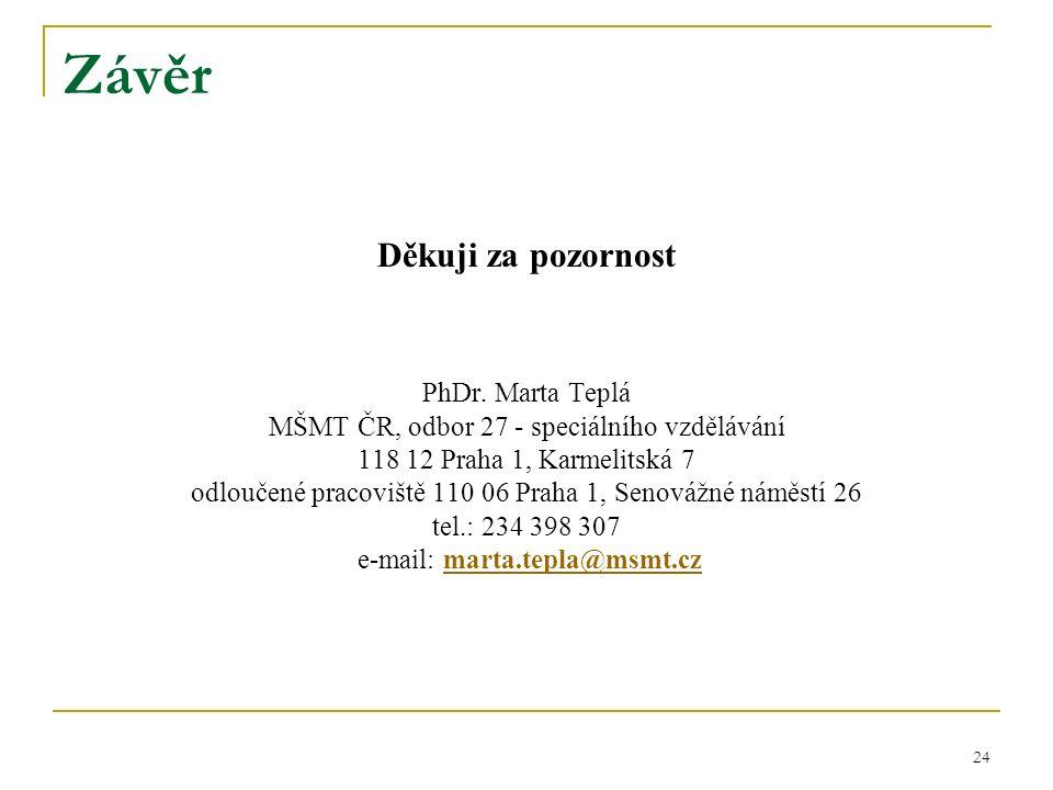 Závěr Děkuji za pozornost PhDr.