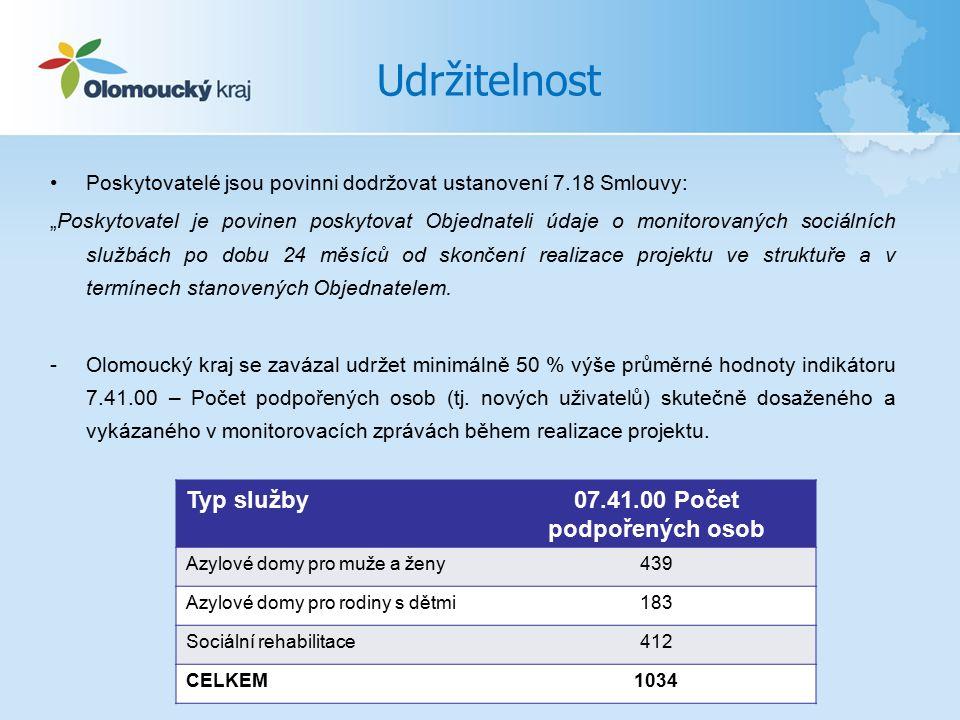 """Udržitelnost Poskytovatelé jsou povinni dodržovat ustanovení 7.18 Smlouvy: """"Poskytovatel je povinen poskytovat Objednateli údaje o monitorovaných sociálních službách po dobu 24 měsíců od skončení realizace projektu ve struktuře a v termínech stanovených Objednatelem."""