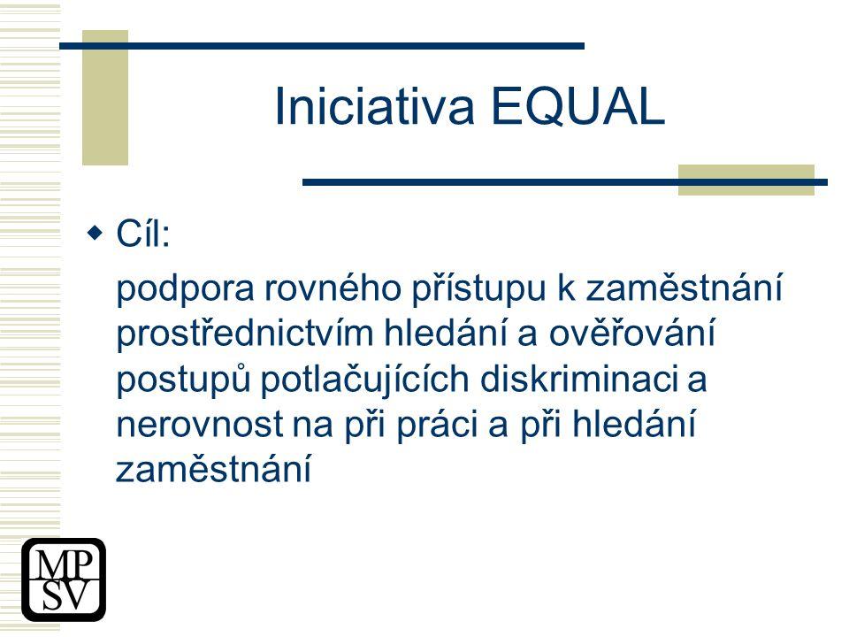 Iniciativa EQUAL  Cíl: podpora rovného přístupu k zaměstnání prostřednictvím hledání a ověřování postupů potlačujících diskriminaci a nerovnost na při práci a při hledání zaměstnání