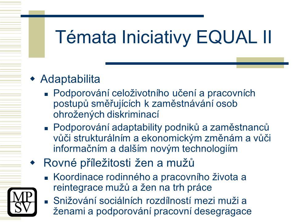 Témata Iniciativy EQUAL II  Adaptabilita Podporování celoživotního učení a pracovních postupů směřujících k zaměstnávání osob ohrožených diskriminací Podporování adaptability podniků a zaměstnanců vůči strukturálním a ekonomickým změnám a vůči informačním a dalším novým technologiím  Rovné příležitosti žen a mužů Koordinace rodinného a pracovního života a reintegrace mužů a žen na trh práce Snižování sociálních rozdílností mezi muži a ženami a podporování pracovní desegragace