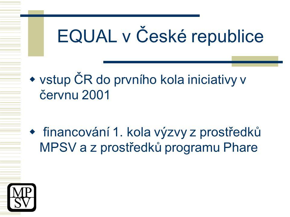 EQUAL v České republice  vstup ČR do prvního kola iniciativy v červnu 2001  financování 1.