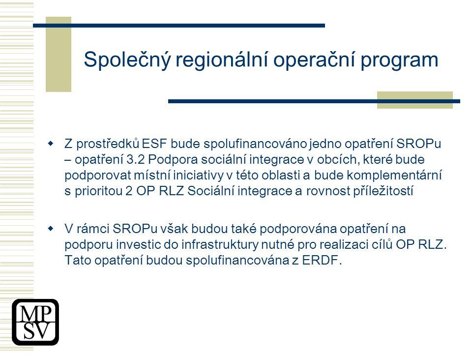 Společný regionální operační program  Z prostředků ESF bude spolufinancováno jedno opatření SROPu – opatření 3.2 Podpora sociální integrace v obcích, které bude podporovat místní iniciativy v této oblasti a bude komplementární s prioritou 2 OP RLZ Sociální integrace a rovnost příležitostí  V rámci SROPu však budou také podporována opatření na podporu investic do infrastruktury nutné pro realizaci cílů OP RLZ.