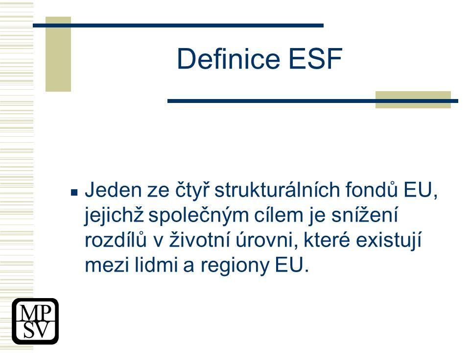 Definice ESF Jeden ze čtyř strukturálních fondů EU, jejichž společným cílem je snížení rozdílů v životní úrovni, které existují mezi lidmi a regiony EU.