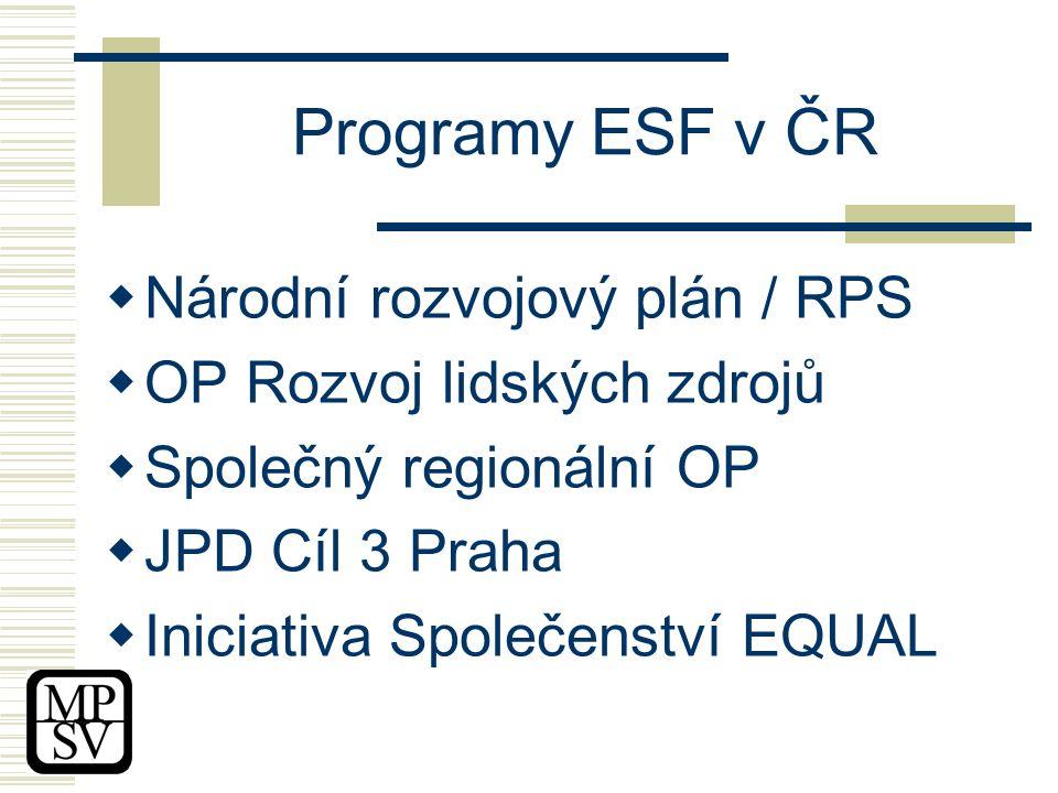 Programy ESF v ČR  Národní rozvojový plán / RPS  OP Rozvoj lidských zdrojů  Společný regionální OP  JPD Cíl 3 Praha  Iniciativa Společenství EQUAL