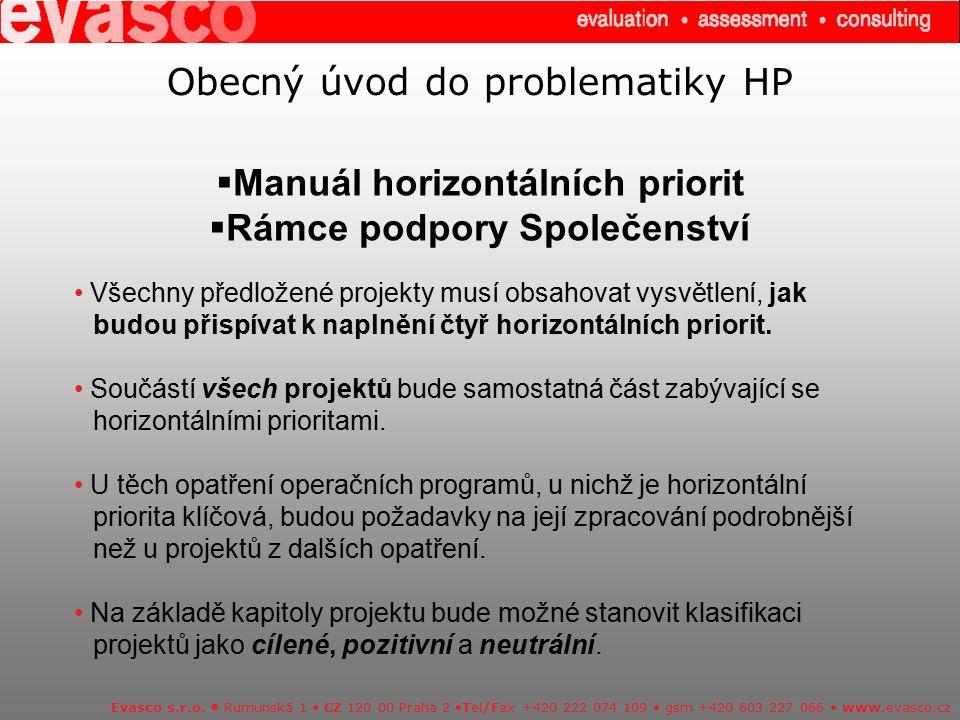 Obecný úvod do problematiky HP  Manuál horizontálních priorit  Rámce podpory Společenství Evasco s.r.o. Rumunská 1 CZ 120 00 Praha 2 Tel/Fax +420 22