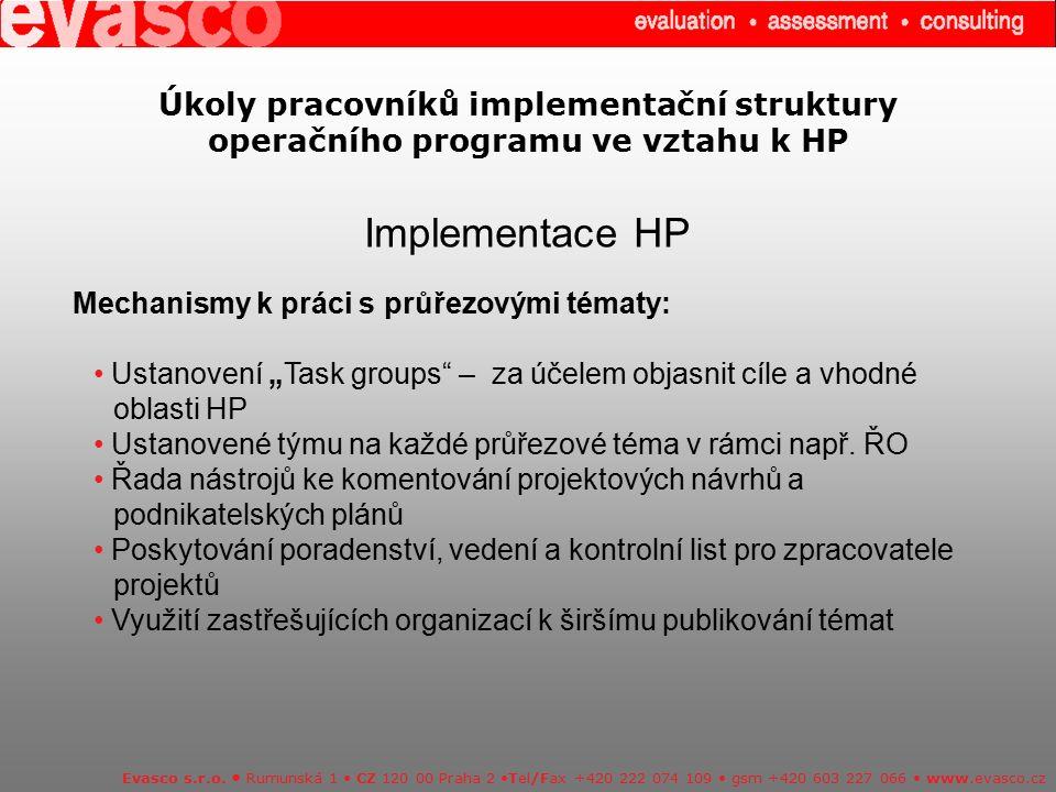 Úkoly pracovníků implementační struktury operačního programu ve vztahu k HP Implementace HP Evasco s.r.o. Rumunská 1 CZ 120 00 Praha 2 Tel/Fax +420 22