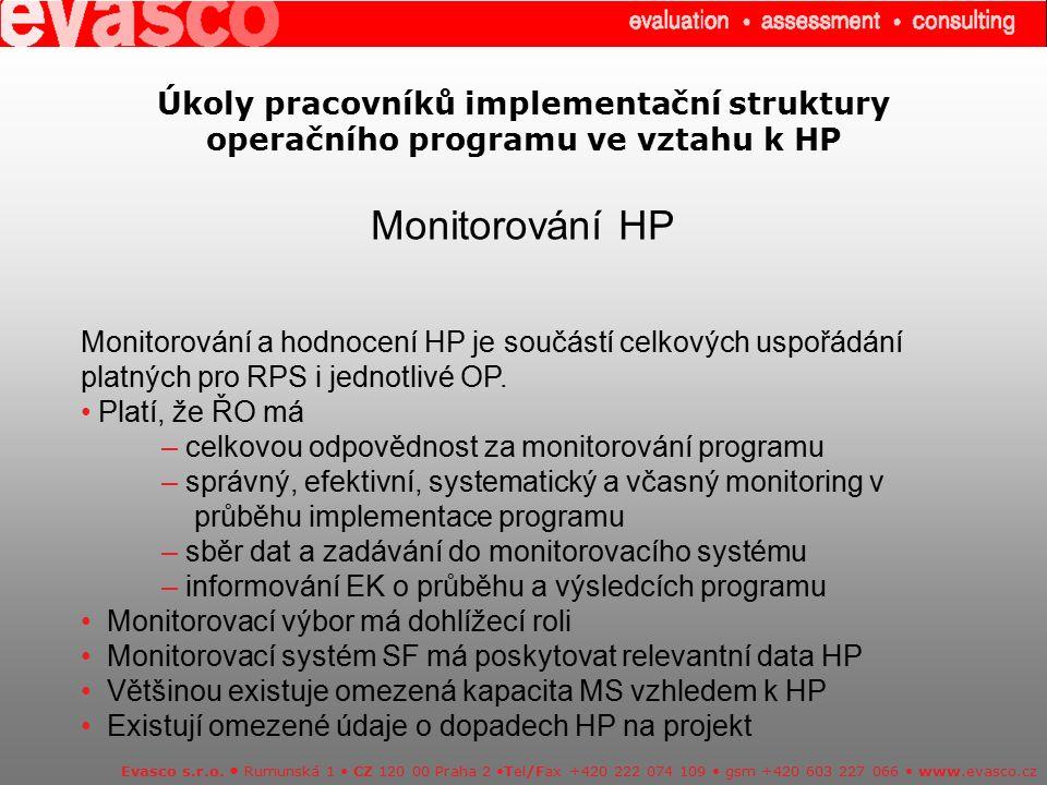 Úkoly pracovníků implementační struktury operačního programu ve vztahu k HP Monitorování HP Evasco s.r.o. Rumunská 1 CZ 120 00 Praha 2 Tel/Fax +420 22