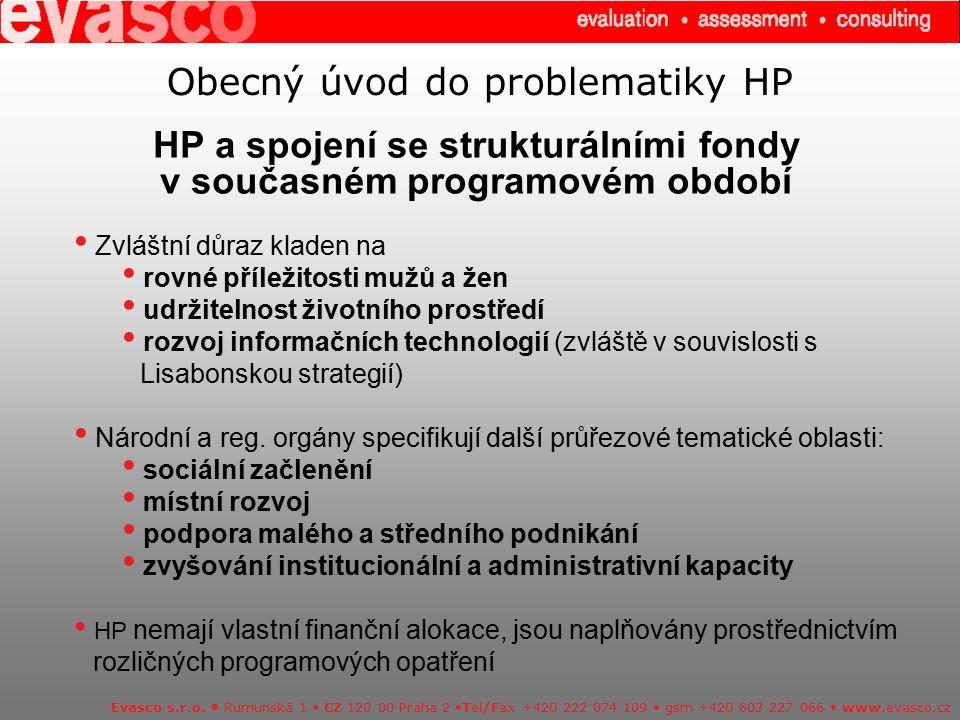 Úkoly pracovníků implementační struktury operačního programu ve vztahu k HP Závěry střednědobých hodnocení ukázaly tyto největší obtíže ve vztahu k HP Evasco s.r.o.