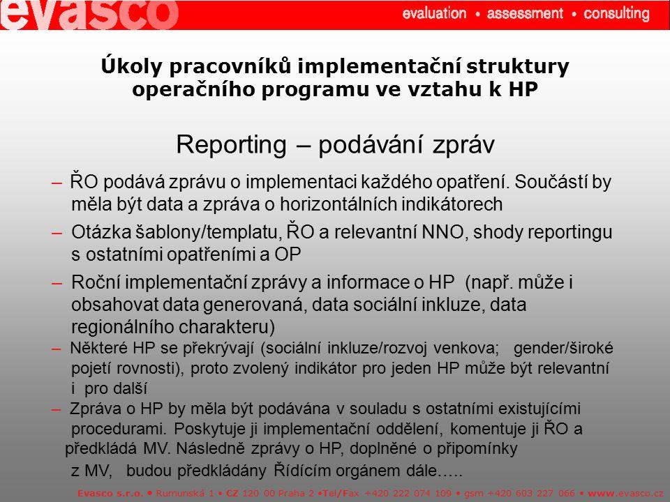 Úkoly pracovníků implementační struktury operačního programu ve vztahu k HP Reporting – podávání zpráv Evasco s.r.o. Rumunská 1 CZ 120 00 Praha 2 Tel/