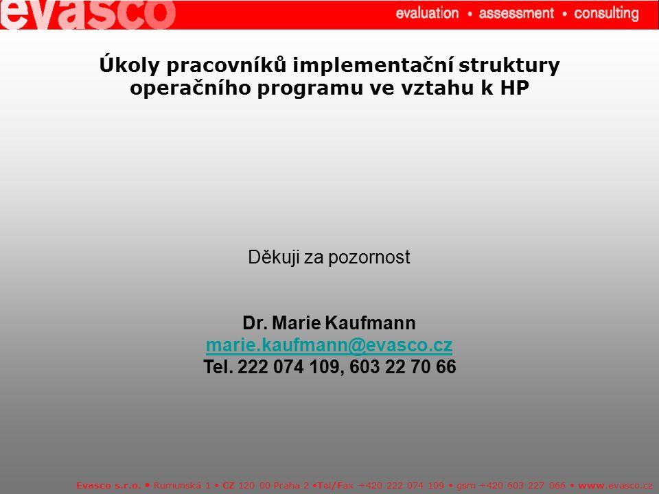 Úkoly pracovníků implementační struktury operačního programu ve vztahu k HP Evasco s.r.o. Rumunská 1 CZ 120 00 Praha 2 Tel/Fax +420 222 074 109 gsm +4
