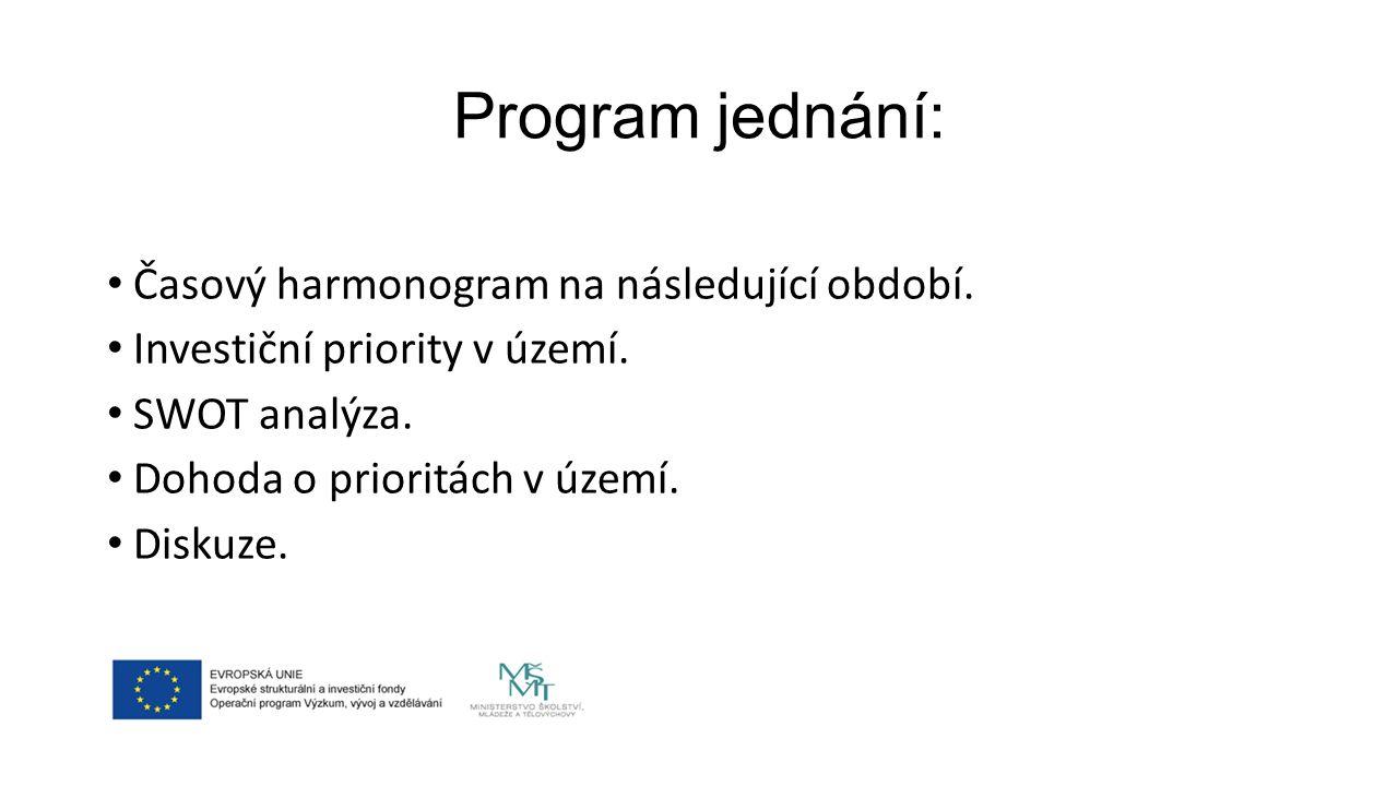 Program jednání: Časový harmonogram na následující období.
