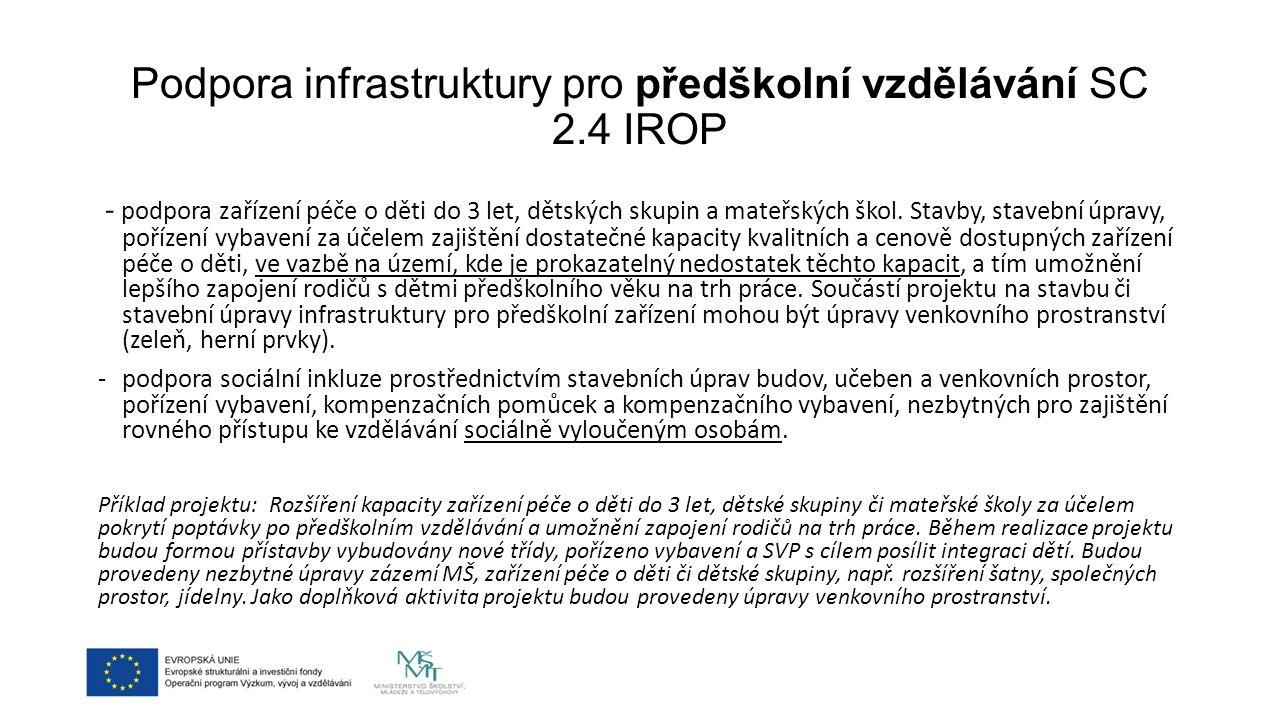 Podpora infrastruktury pro předškolní vzdělávání SC 2.4 IROP - podpora zařízení péče o děti do 3 let, dětských skupin a mateřských škol.