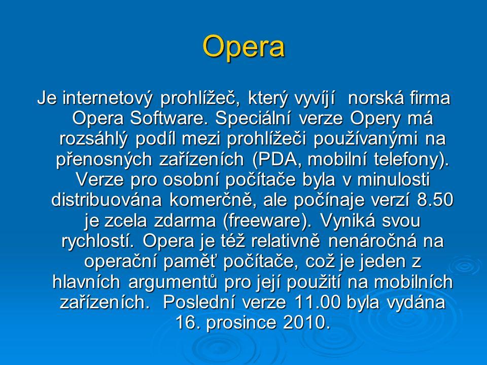 Opera Je internetový prohlížeč, který vyvíjí norská firma Opera Software.