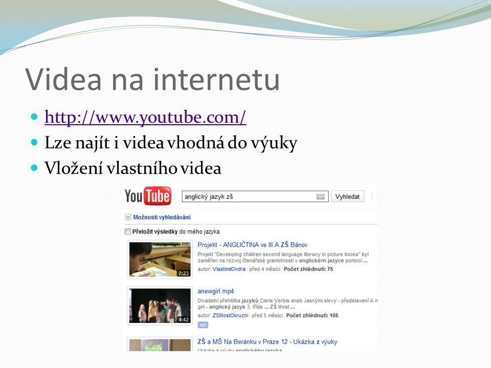 Videa na internetu http://www.youtube.com/ Lze najít i videa vhodná do výuky Vložení vlastního videa