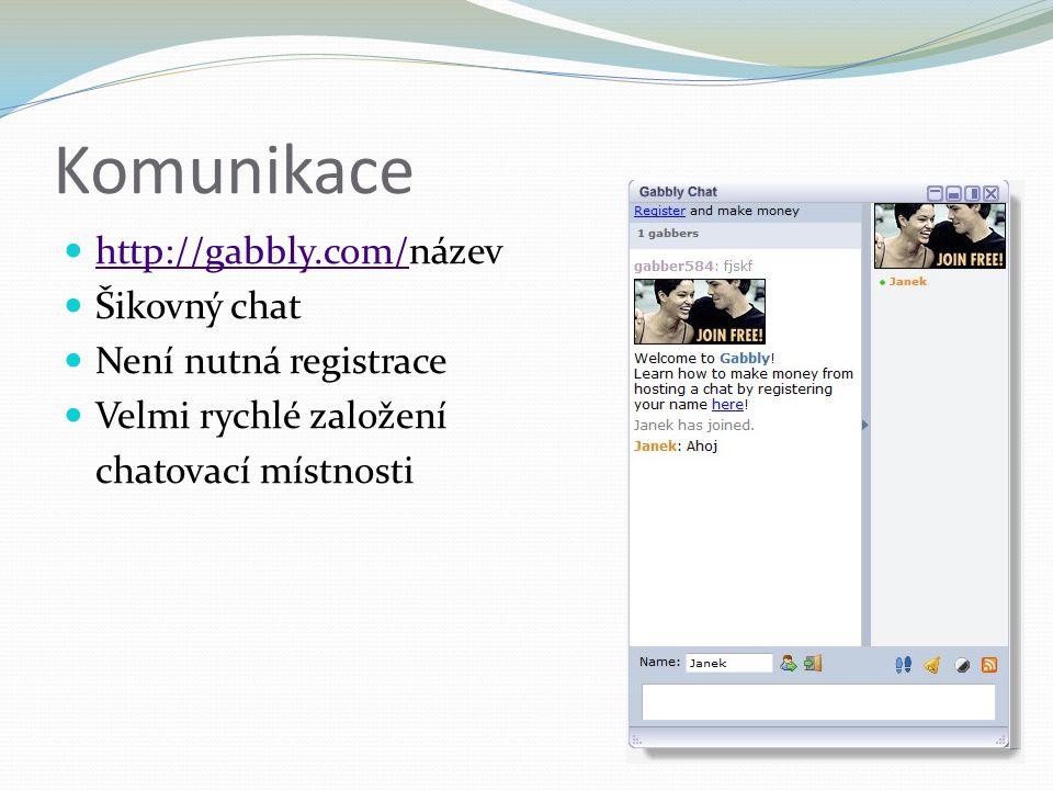 Komunikace http://gabbly.com/název http://gabbly.com/ Šikovný chat Není nutná registrace Velmi rychlé založení chatovací místnosti