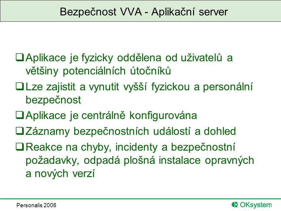 Personalis 2006 Bezpečnost VVA - Aplikační server  Aplikace je fyzicky oddělena od uživatelů a většiny potenciálních útočníků  Lze zajistit a vynutit vyšší fyzickou a personální bezpečnost  Aplikace je centrálně konfigurována  Záznamy bezpečnostních událostí a dohled  Reakce na chyby, incidenty a bezpečnostní požadavky, odpadá plošná instalace opravných a nových verzí