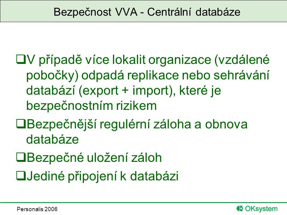 Personalis 2006 Bezpečnost VVA - Centrální databáze  V případě více lokalit organizace (vzdálené pobočky) odpadá replikace nebo sehrávání databází (export + import), které je bezpečnostním rizikem  Bezpečnější regulérní záloha a obnova databáze  Bezpečné uložení záloh  Jediné připojení k databázi