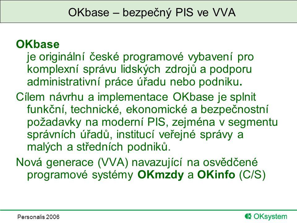 Personalis 2006 OKbase – bezpečný PIS ve VVA OKbase je originální české programové vybavení pro komplexní správu lidských zdrojů a podporu administrativní práce úřadu nebo podniku.