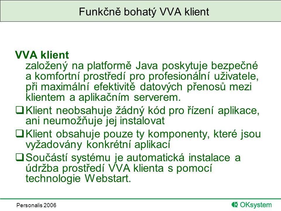 Personalis 2006 Funkčně bohatý VVA klient VVA klient založený na platformě Java poskytuje bezpečné a komfortní prostředí pro profesionální uživatele, při maximální efektivitě datových přenosů mezi klientem a aplikačním serverem.