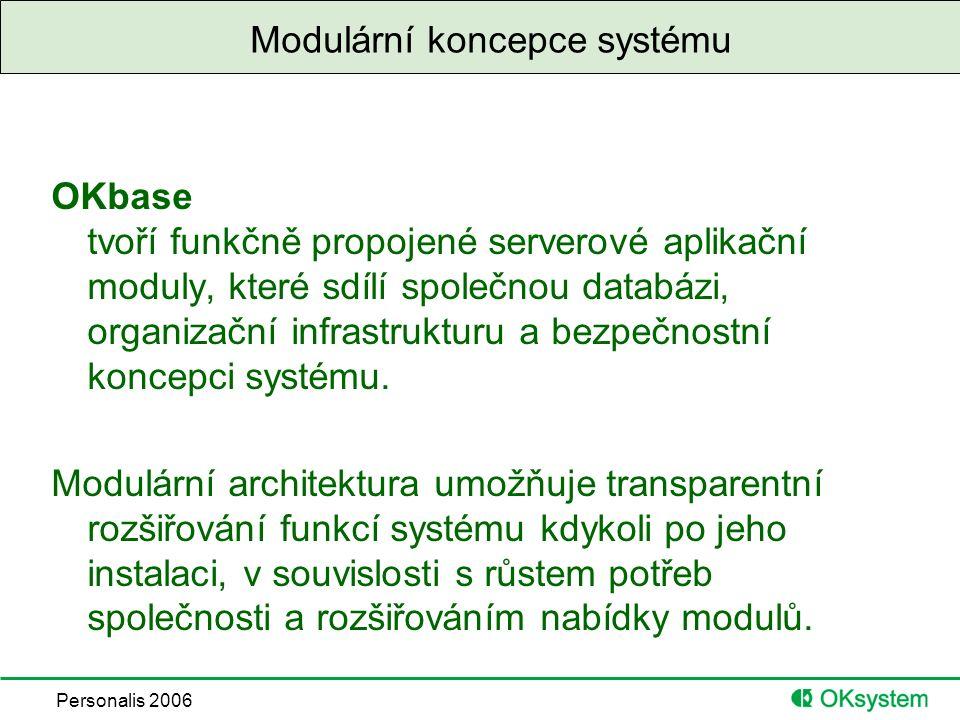 Personalis 2006 Modulární koncepce systému OKbase tvoří funkčně propojené serverové aplikační moduly, které sdílí společnou databázi, organizační infrastrukturu a bezpečnostní koncepci systému.