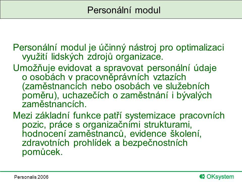Personalis 2006 Personální modul Personální modul je účinný nástroj pro optimalizaci využití lidských zdrojů organizace.