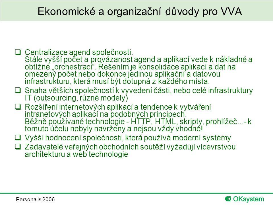 """Personalis 2006 Technické předpoklady VVA  Běžná dostupnost rychlých datových komunikací  Významný pokles cen škálovatelných serverů, založených na výkonných a dostupných 64 bitových procesorech a OS  Dostupnost """"hostingových center  Zralá platforma pro vývoj a provoz vícevrstvých aplikací – J2EE,.NET  Rozvoj SOA – architektury orientované na poskytování služeb v síti  Dostupnost kryptografických prostředků a standardních protokolů"""