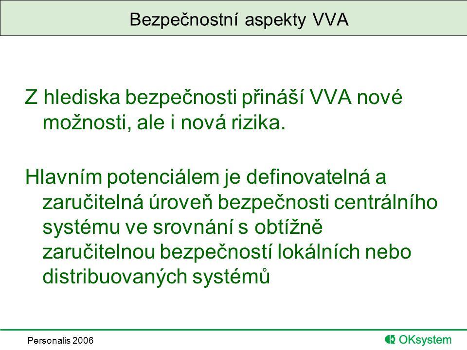 Personalis 2006 Bezpečnostní aspekty VVA Z hlediska bezpečnosti přináší VVA nové možnosti, ale i nová rizika.