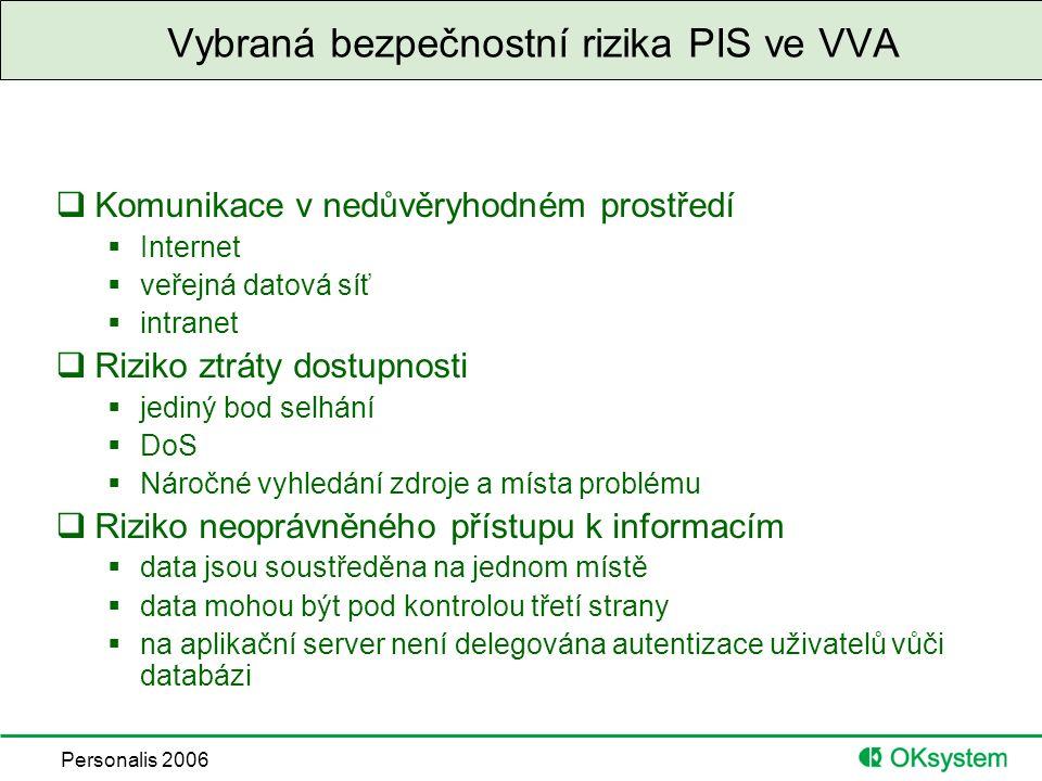 Personalis 2006 Vybraná bezpečnostní rizika PIS ve VVA  Komunikace v nedůvěryhodném prostředí  Internet  veřejná datová síť  intranet  Riziko ztráty dostupnosti  jediný bod selhání  DoS  Náročné vyhledání zdroje a místa problému  Riziko neoprávněného přístupu k informacím  data jsou soustředěna na jednom místě  data mohou být pod kontrolou třetí strany  na aplikační server není delegována autentizace uživatelů vůči databázi