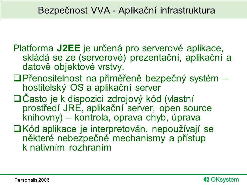 Personalis 2006 Bezpečnost VVA - Aplikační infrastruktura Platforma J2EE je určená pro serverové aplikace, skládá se ze (serverové) prezentační, aplikační a datově objektové vrstvy.