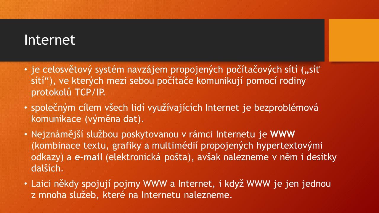 Služby Internetu Mezi základní služby Internetu patří: WWW – systém webových stránek zobrazovaných pomocí webového prohlížeče běžně používá protokol HTTP pro zabezpečený přenos používá protokol HTTPS E-mail – elektronická pošta pro přenos zpráv používá protokol SMTP pro komunikaci s poštovními programy používá protokoly POP3, IMAP