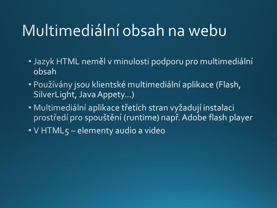 AtributVýznam srcZdroj videa autoplayIndikace automatického startu videa při načtení stránky controlsPřidá ovládací prvky mutedZtlumení videa (v současnosti nepodporováno) loopPřehrávání videa ve smyčce posterObrázek který je zobrazen před přehráváním videa widthŠířka elementu heightVýška elementu preloadIndikuje, zda se bude video automaticky načítat do vyrovnávací paměti prohlížeče
