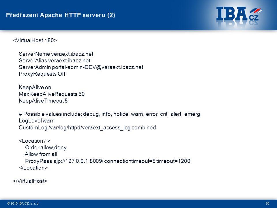 20© 2013 IBA CZ, s. r. o. Předřazení Apache HTTP serveru (2) ServerName veraext.ibacz.net ServerAlias veraext.ibacz.net ServerAdmin portal-admin-DEV@v