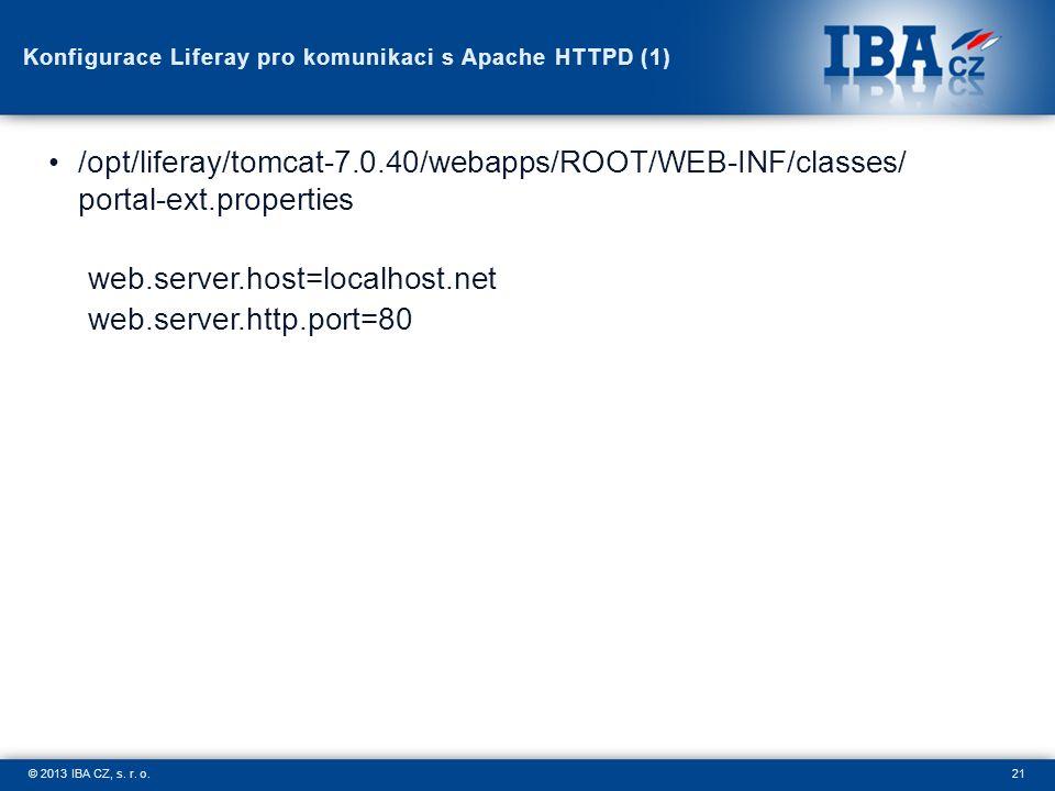 21© 2013 IBA CZ, s. r. o. Konfigurace Liferay pro komunikaci s Apache HTTPD (1) /opt/liferay/tomcat-7.0.40/webapps/ROOT/WEB-INF/classes/ portal-ext.pr