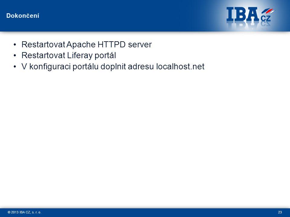 23© 2013 IBA CZ, s. r. o. Dokončení Restartovat Apache HTTPD server Restartovat Liferay portál V konfiguraci portálu doplnit adresu localhost.net