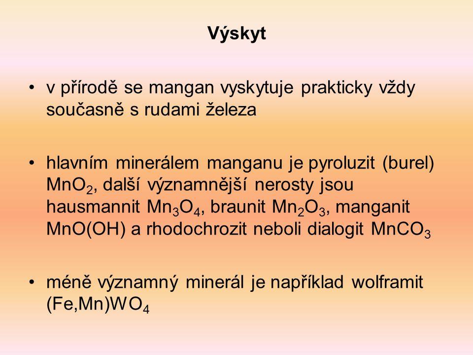 Výroba základem výroby manganu je redukce uhlíkem (koksem) ve vysoké peci: Mn 3 O 4 + 4 C → 3 Mn + 4 CO vzniká slitina - ferromangan mangan se získává aluminotermicky redukcí hliníkem - vychází z burelu, ale ten by s hliníkem reagoval příliš prudce, a proto se musí nejprve převést na Mn 3 O 4, který reaguje klidněji: 3 Mn 3 O 4 + 8 Al → 4 Al 2 O 3 + 9 Mn zvláště čistý mangan se získává elektrolýzou roztoku síranu manganatého