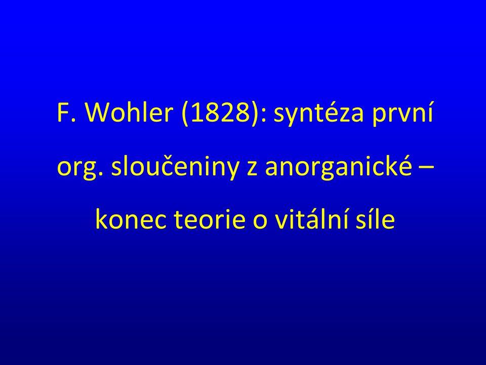 F. Wohler (1828): syntéza první org. sloučeniny z anorganické – konec teorie o vitální síle
