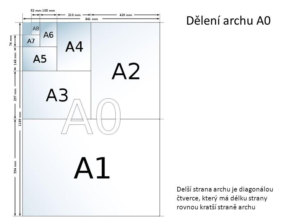 Dělení archu A0 Delší strana archu je diagonálou čtverce, který má délku strany rovnou kratší straně archu