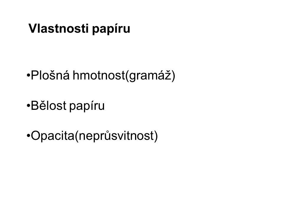Vlastnosti papíru Plošná hmotnost(gramáž) Bělost papíru Opacita(neprůsvitnost)