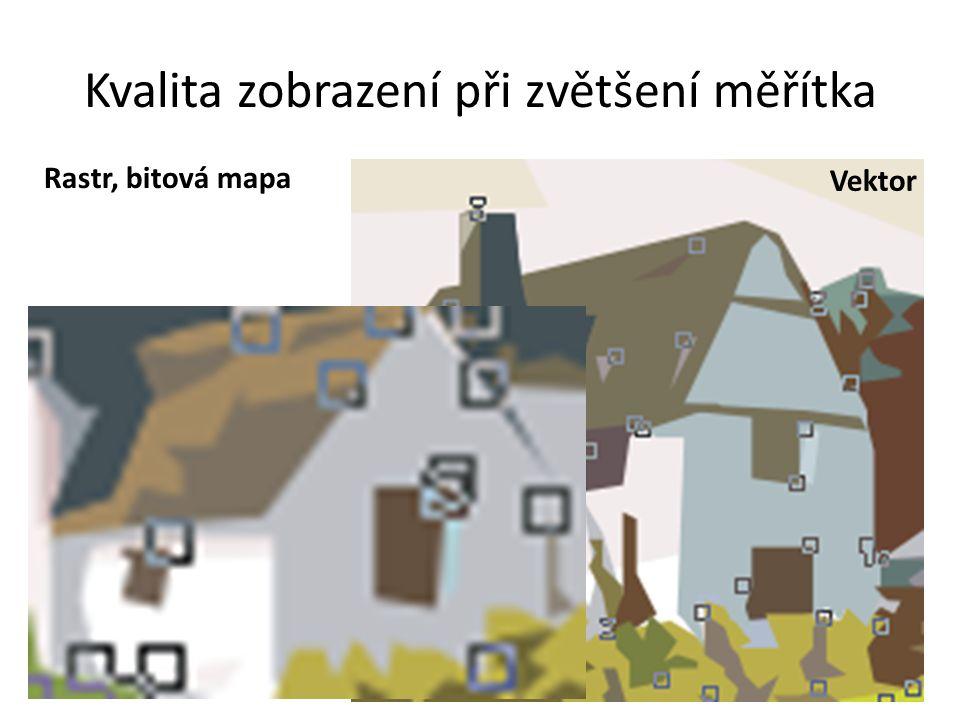 Kvalita zobrazení při zvětšení měřítka Rastr, bitová mapa Vektor