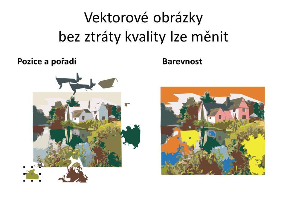 Vektorové obrázky bez ztráty kvality lze měnit Pozice a pořadíBarevnost