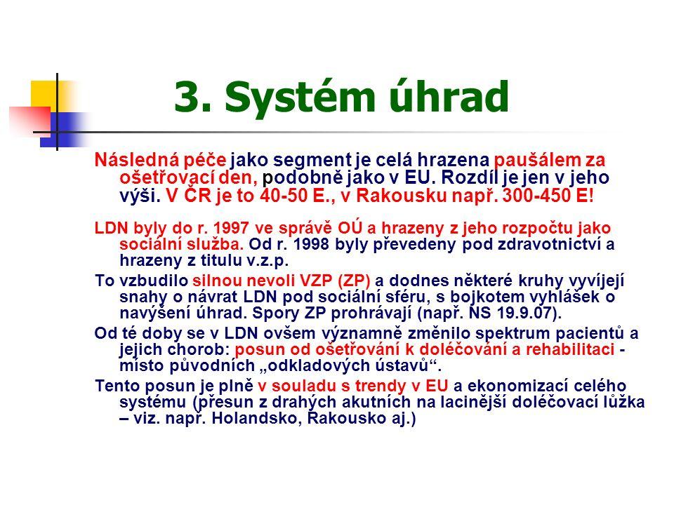 3. Systém úhrad Následná péče jako segment je celá hrazena paušálem za ošetřovací den, podobně jako v EU. Rozdíl je jen v jeho výši. V ČR je to 40-50