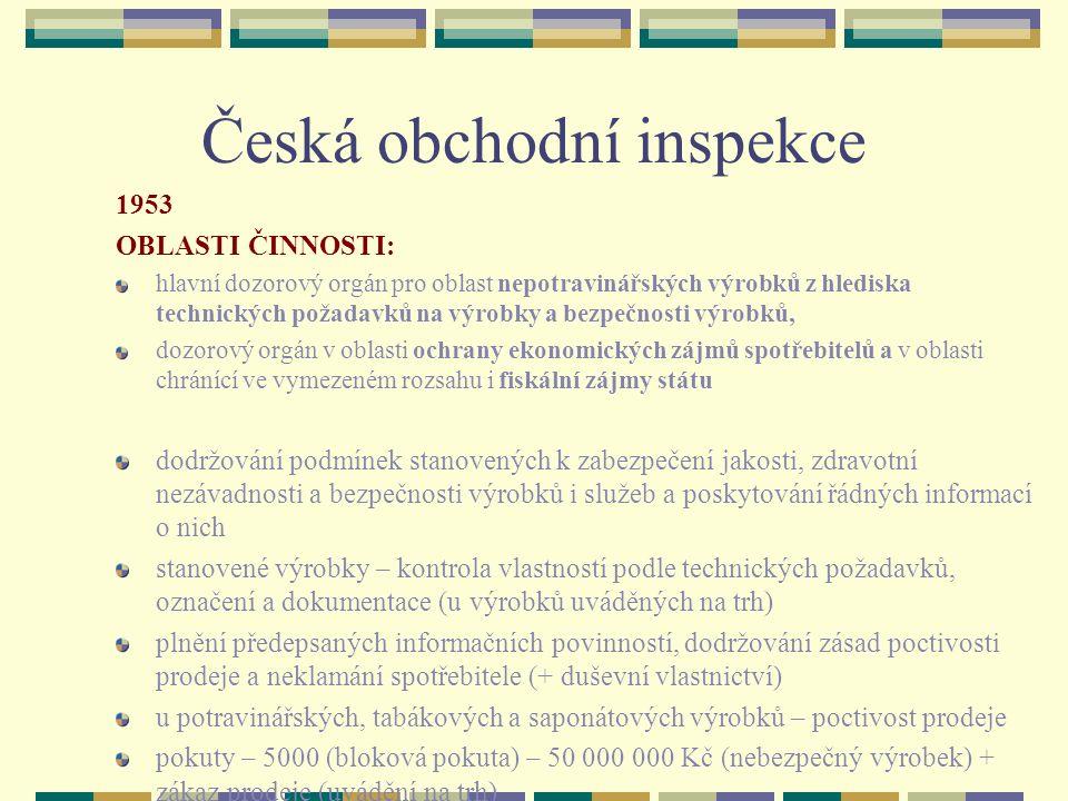 Česká obchodní inspekce 1953 OBLASTI ČINNOSTI: hlavní dozorový orgán pro oblast nepotravinářských výrobků z hlediska technických požadavků na výrobky