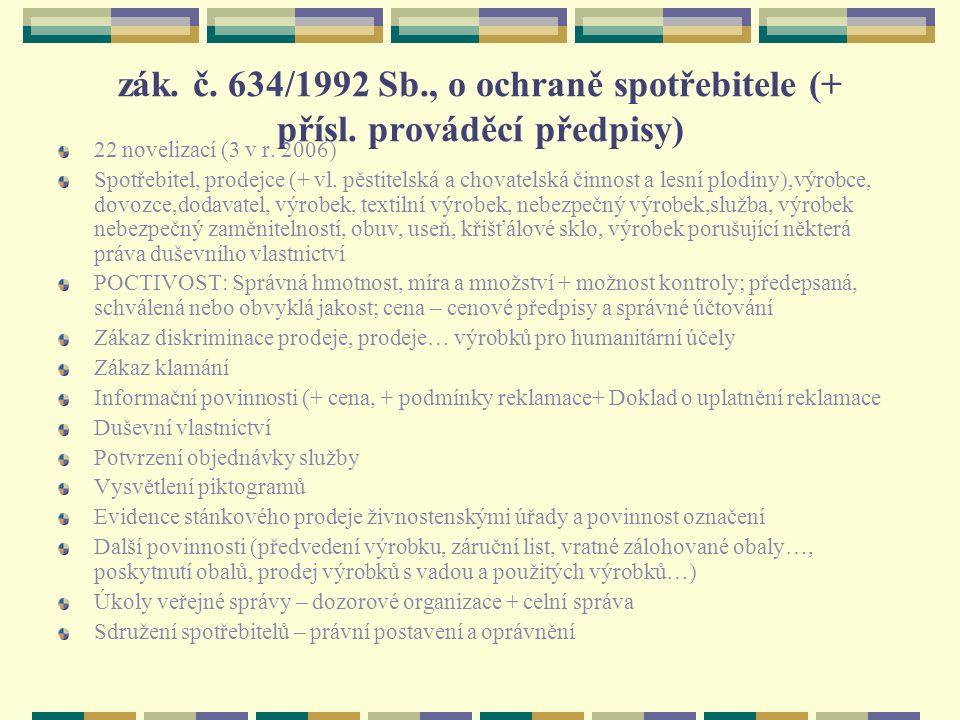 zák. č. 634/1992 Sb., o ochraně spotřebitele (+ přísl. prováděcí předpisy) 22 novelizací (3 v r. 2006) Spotřebitel, prodejce (+ vl. pěstitelská a chov