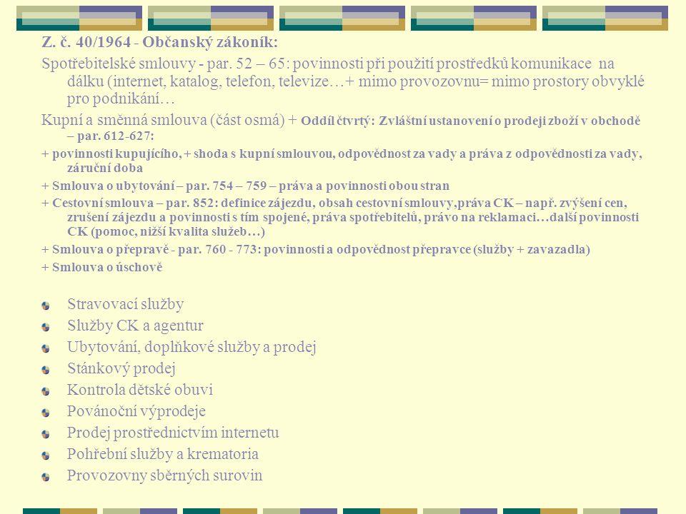 Z. č. 40/1964 - Občanský zákoník: Spotřebitelské smlouvy - par. 52 – 65: povinnosti při použití prostředků komunikace na dálku (internet, katalog, tel
