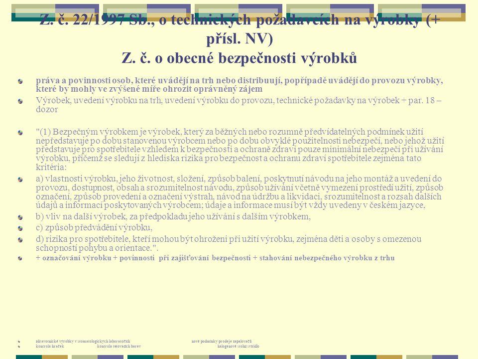 Z. č. 22/1997 Sb., o technických požadavcích na výrobky (+ přísl. NV) Z. č. o obecné bezpečnosti výrobků práva a povinnosti osob, které uvádějí na trh