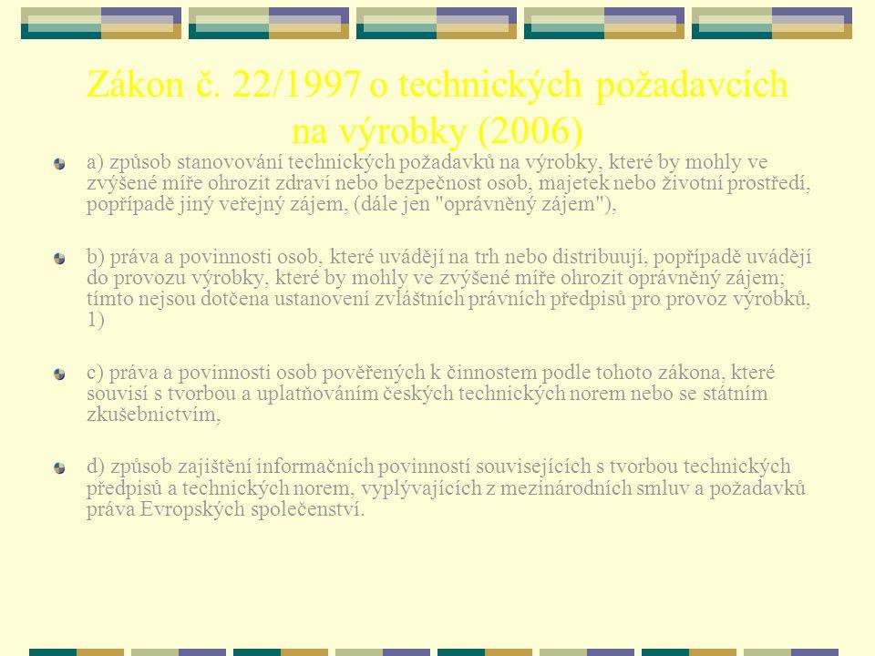 Zákon č. 22/1997 o technických požadavcích na výrobky (2006) a) způsob stanovování technických požadavků na výrobky, které by mohly ve zvýšené míře oh