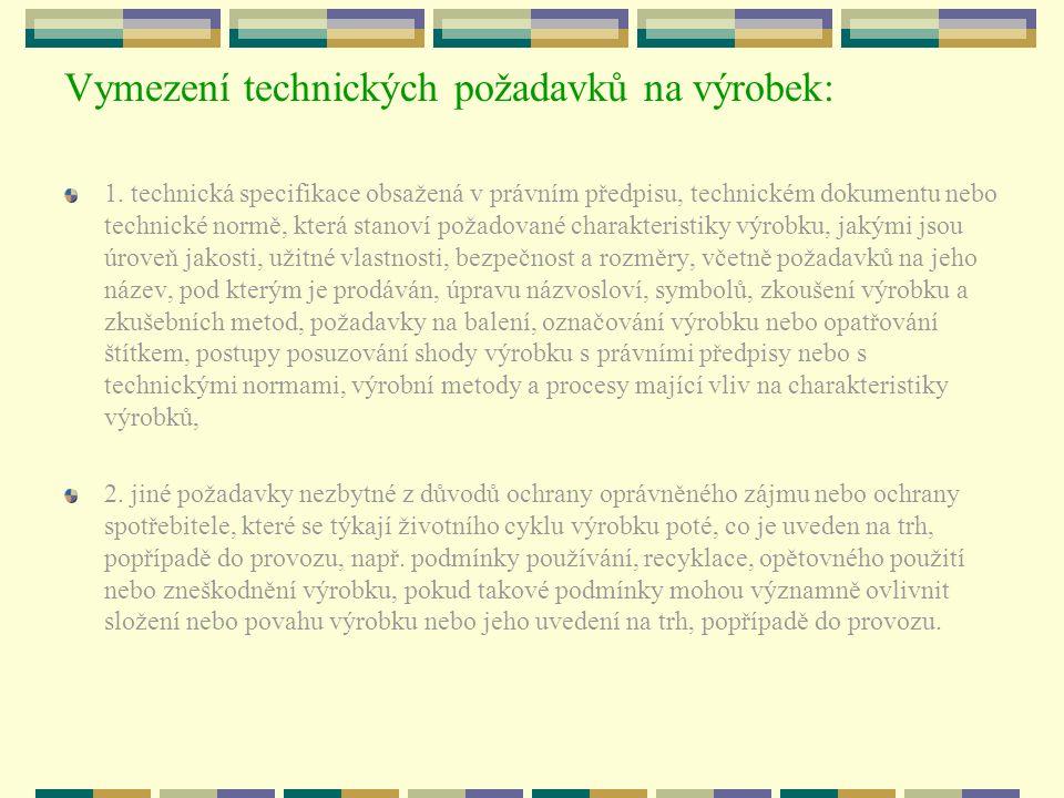 Vymezení technických požadavků na výrobek: 1. technická specifikace obsažená v právním předpisu, technickém dokumentu nebo technické normě, která stan
