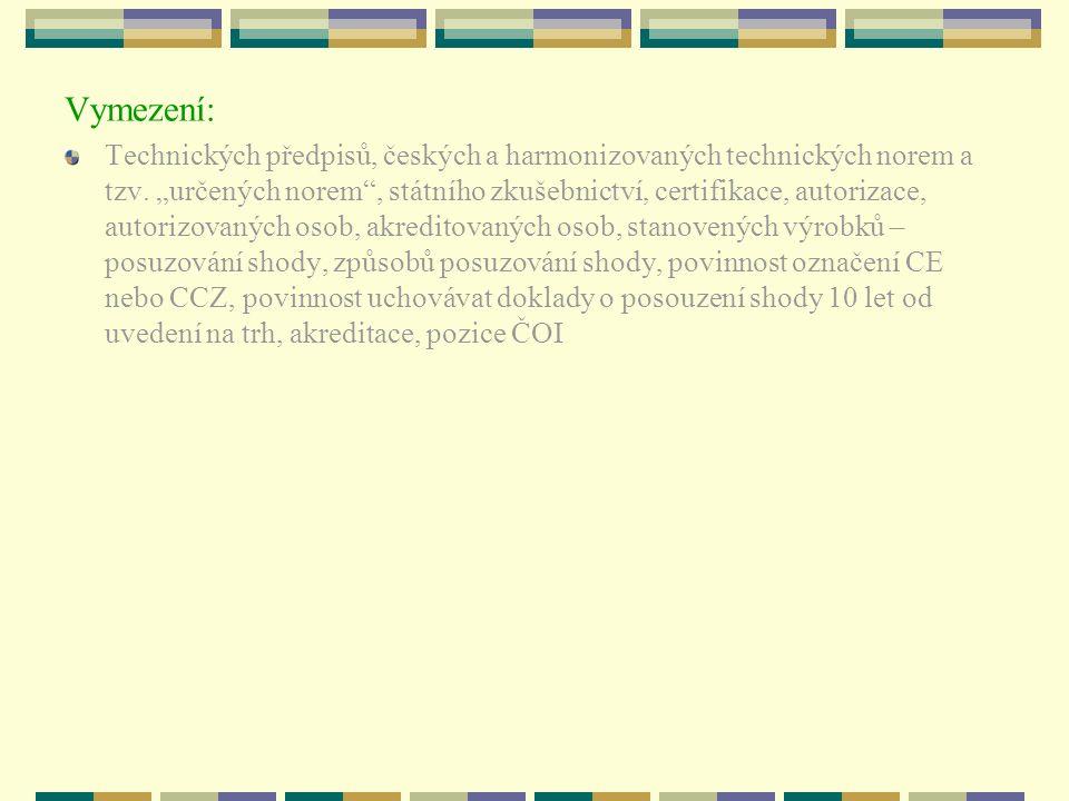 """Vymezení: Technických předpisů, českých a harmonizovaných technických norem a tzv. """"určených norem"""", státního zkušebnictví, certifikace, autorizace, a"""