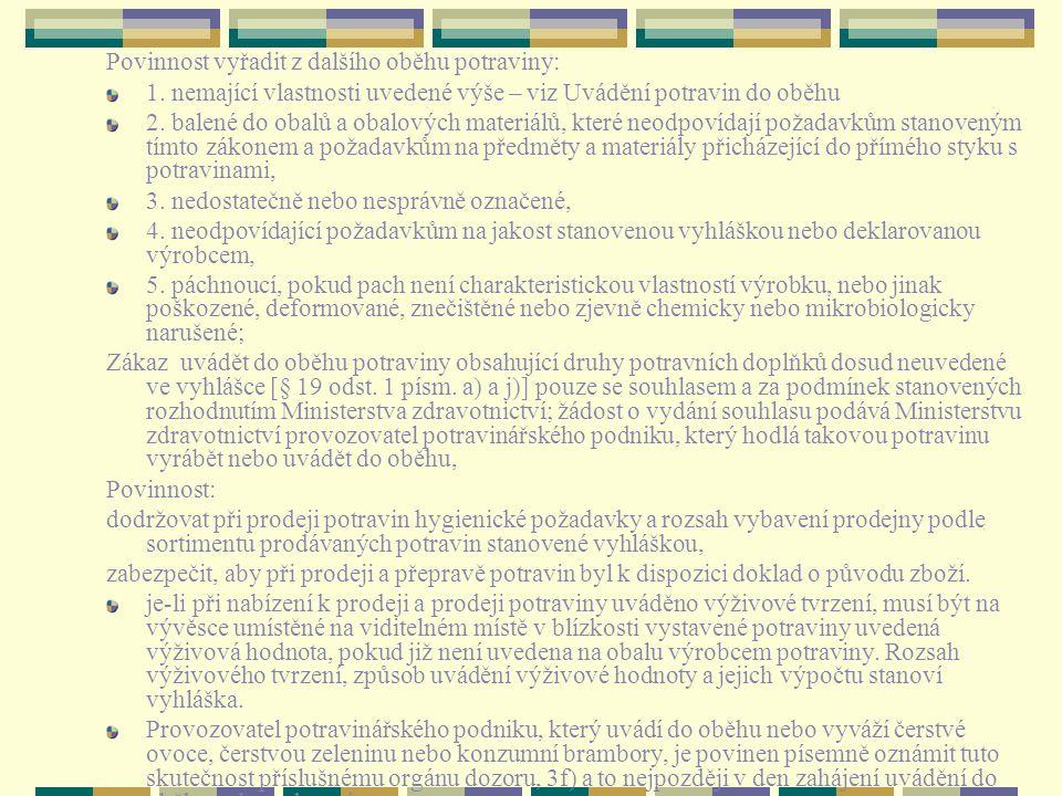 Povinnost vyřadit z dalšího oběhu potraviny: 1. nemající vlastnosti uvedené výše – viz Uvádění potravin do oběhu 2. balené do obalů a obalových materi