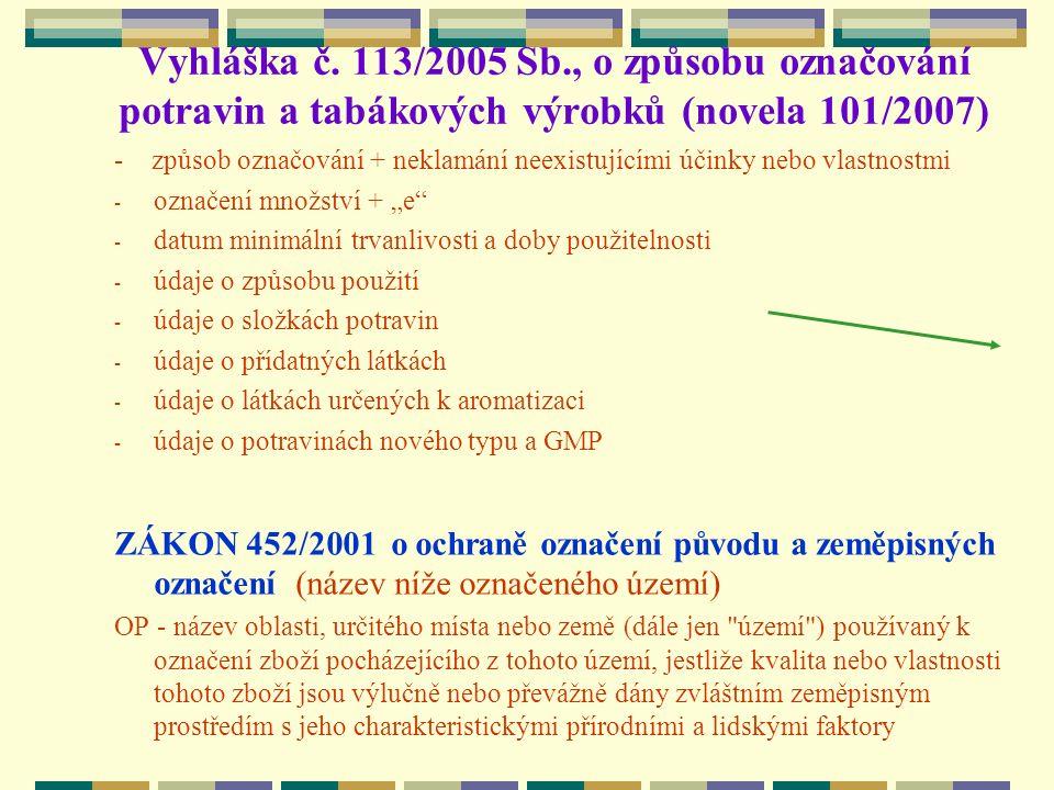 Vyhláška č. 113/2005 Sb., o způsobu označování potravin a tabákových výrobků (novela 101/2007) - způsob označování + neklamání neexistujícími účinky n